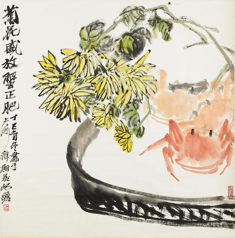 Zhu Qizhan (1892-1996) Chrysanthemums and Crabs