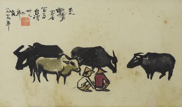 Xi Dejin (Shiy De-jinn, 1923-1981) Herdboys and Waterbuffalos