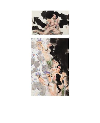Fu Xiaoshi (b.1932) Two Nudes Paintings
