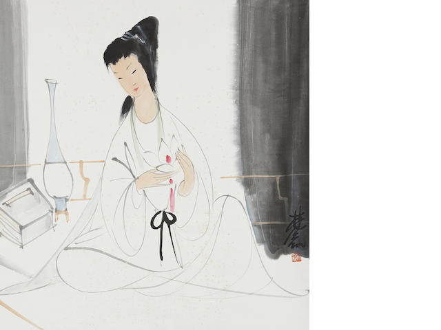 Lin Fengmian (1900-1991) Lady with White Lotus