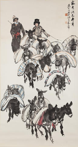 Huang Zhou (1925-1997) Donkeys Carrying Provisions