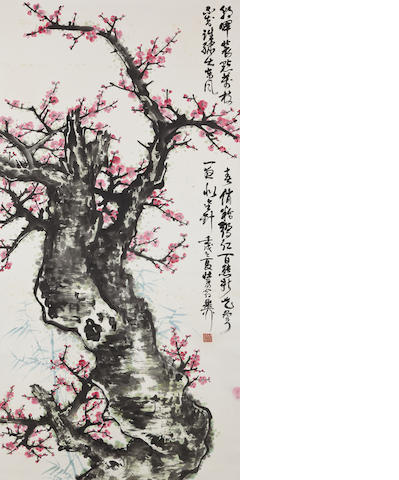 Xie Zhiliu (1910-1997) Red Plum Blossoms in Spring