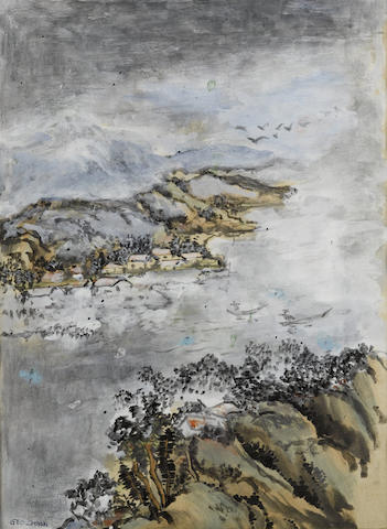 Chen Yinpi (George Chann, 1913-1995) Village by the Lake