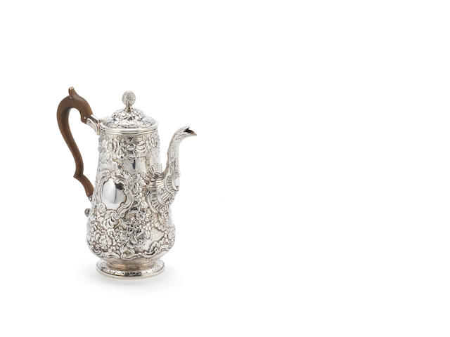 A George IV Irish silver coffee pot, by Charles Marsh, Dublin 1820,  (1)