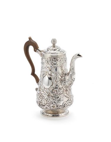 A George IV Irish silver coffee pot, by Charles Marsh, Dublin 1820,  (1)