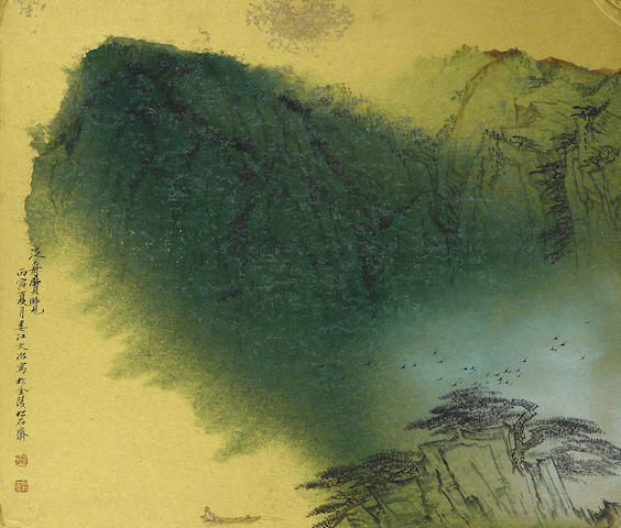 Song Wenzhi (1919-1999) Boating in the Blue and Green Landscape