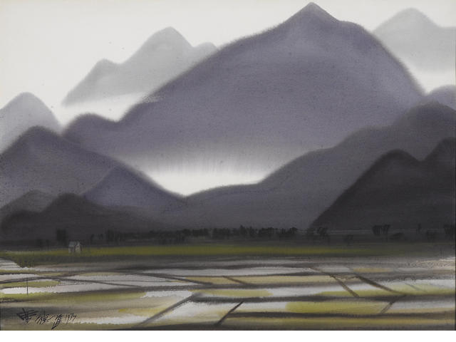 Xi Dejin (Shiy De-jinn, 1923-1981) Rice Field under the Mountain