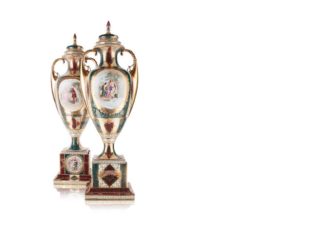 An impressive pair of Vienna vases of large proportions Early 20th century