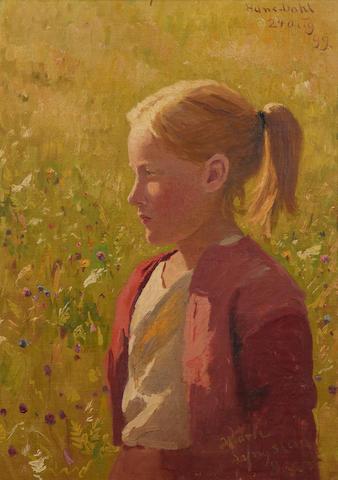 Hans Dahl (Norwegian, 1849-1937) Portrait of Marie Lyngstad aged 8