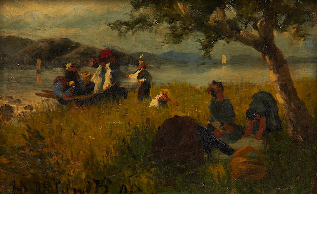 Hans Dahl (Norwegian, 1849-1937) The picnic