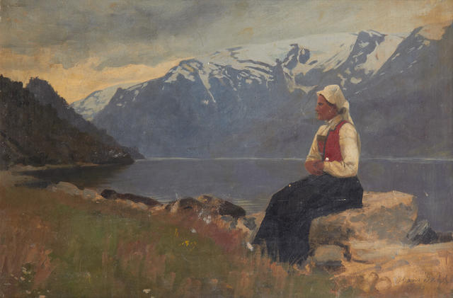Hans Dahl (Norwegian, 1849-1937) Fyord landscape with girl seated on a rock