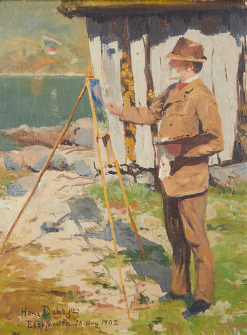 Hans Andreas Dahl (Norwegian, 1881-1919) Portrait of the artist's father, Hans Dahl snr. at his easel