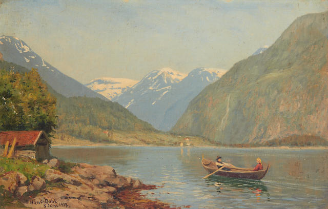 Hans Dahl (Norwegian, 1849-1937) Figures in a rowing boat on a fjord