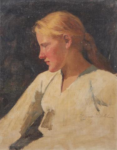 Hans Dahl (Norwegian, 1849-1937) Sketch of a girl in white blouse