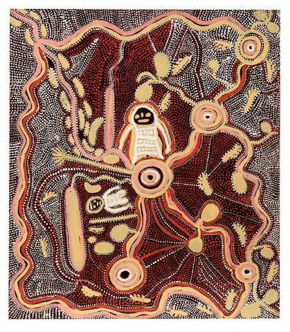 Johnny Warangkula Tjupurrula (circa 1925-2001) Water Dreaming with Bush Tucker