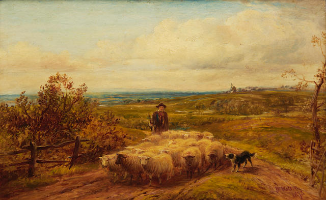 William Watson (British, died 1921) Driving home the flock