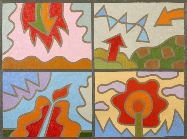 Alexis Akrithakis (Greek, 1939-1994) Four seasons / Quatre paysages 60 x 80 cm.