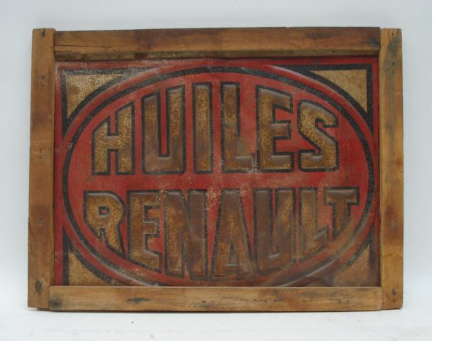 A 'Huiles Renault' tin sign, 1920s,