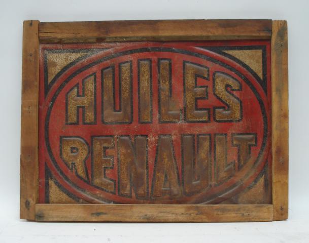 A 'Huiles Renault' tin sign, 1920s,