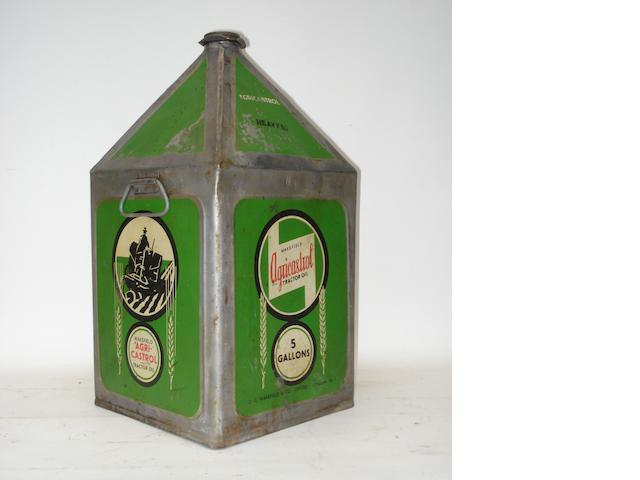 A Wakefield Agri-Castrol 5-gallon oil can,