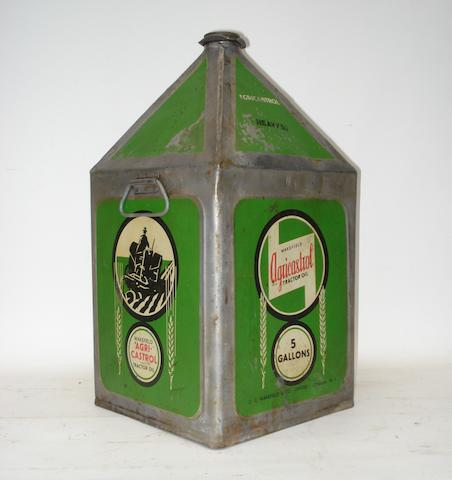 A Wakefield Agri-Castrol 5-gallon oil can,