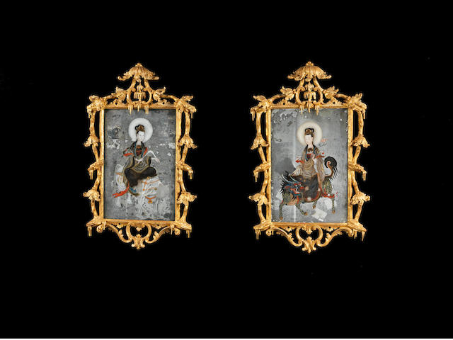 A pair of mid-18th century Chinese reverse painted mirrors