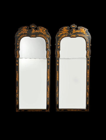 A pair of large 19th century black and gilt japanned pier mirrors in the Queen Anne style