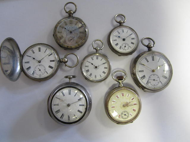 A lot of seven silver pocket watches