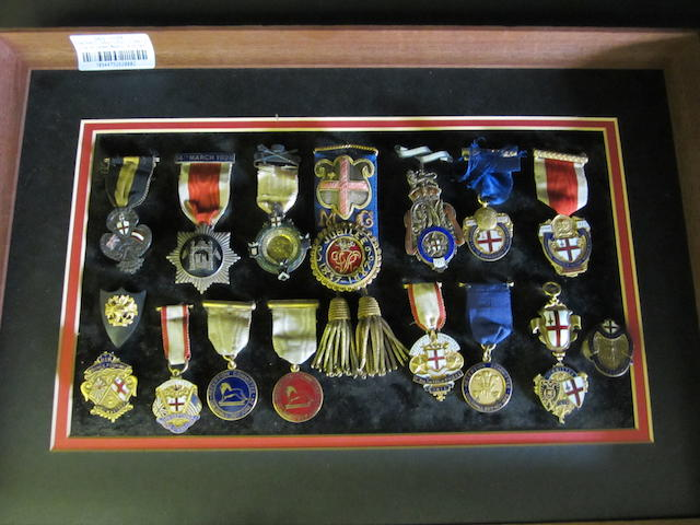 City of London Medals, a collection assorted different medals, mainly in silver, or silver-gilt and enamel, relating to events that took place in the City over the period 1887 to 1935, including the Golden Jubilee 1887; Visit of HIH Prince Fushimi's visit 10th May 1907; United States Fleet Reception 1910; Reception Committee Guildhall 1924; similar for 1925. With an 18ct gold medal with enamel shields to both sides. An unusual and interesting collection.