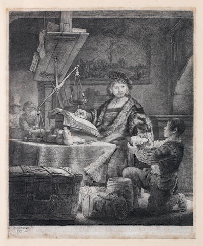 Rembrandt Harmensz van Rijn (Dutch, 1606-1669) Jan Uytenbogaert, The Gold Weigher Etching, 1639, the final third state reworked by Captain Baillie, with additional verticals between boy's left leg and the foot of the chair, on laid, 250 x 204mm