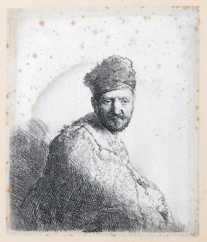 Rembrandt Harmensz van Rijn (Dutch, 1606-1669) Old Man Seated, with a beard, fur cap and velvet cloak Etching, c1632, the final third state, with strong diagonal shading lower left and on forehead and cheek, on laid, with thread margins, 149 x 130mm 5 7/8 x 5 1/8in)(PL)
