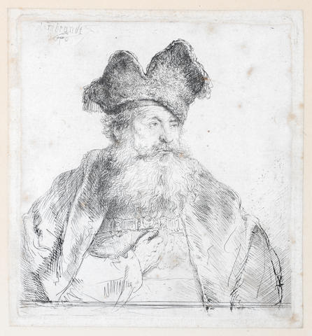 Rembrandt Harmensz van Rijn (Dutch, 1606-1669) Old man with a divided fur cap Etching, 1640, an early impression of the final second state, with the slipt diagonal stroke running from the cap over his left eyebrow to the left cheek, on laid, with small margins, 150 x 140mm 5 3/4 x 5 1/2)(PL)