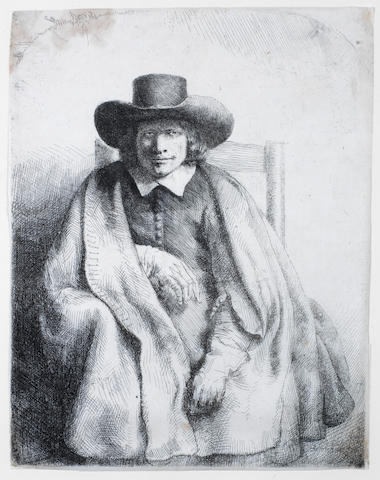 Rembrandt Harmensz van Rijn (Dutch, 1606-1669) Clement de Jonghe, Printseller Etching, 1651, fifth state of six, on laid, with thread margins, 207 x 161mm