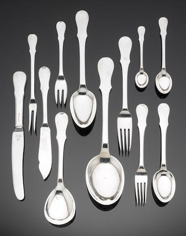 EVALD NIELSON: A Danish silver table service of flatware and cutlery either with facsimile signature for Evald Nielson or EN, some pieces dated anno 1925 - 1928, 830 standard mark, pattern No 21  (98)