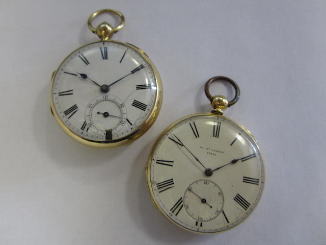 A lot of two 18ct gold open face pocket watches
