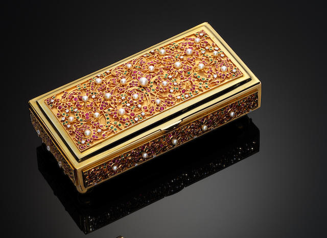 A mid-20th century Indian gold, diamond, ruby, emerald and cultured pearl set box By Shaikha Jewellers, Karachi, French owl control mark to flange