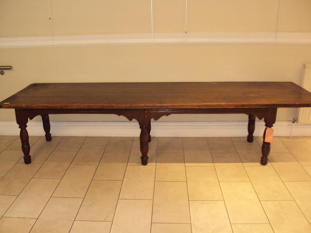 A 17th century and later oak refectory table