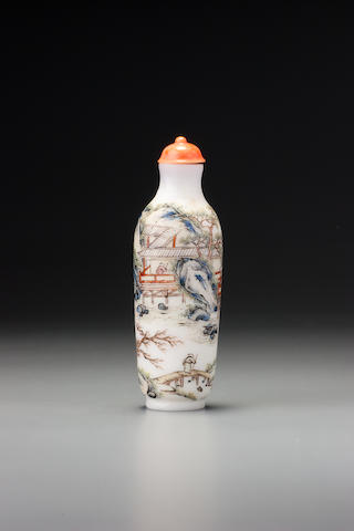 A 'famille-rose' enamelled glass 'literati in landscape' snuff bottle Attributable to the palace workshops, Beijing, 1750–1799
