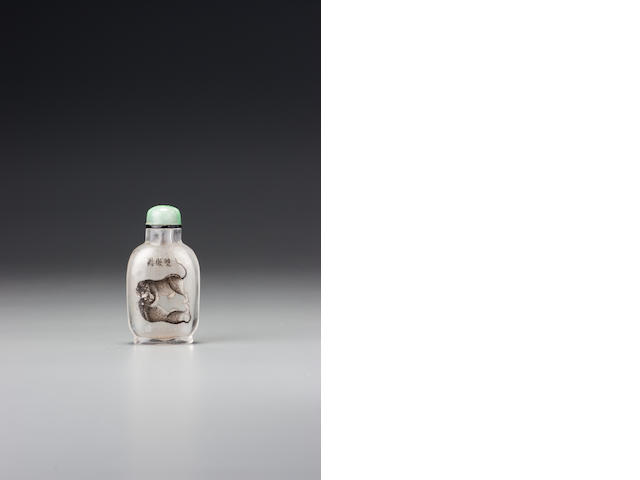 An inside-painted glass 'playing cats' snuff bottle Family of Ma Shaoxuan, Beijing, dated 1899