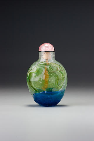 An emerald-green and sapphire-blue glass overlay snuff bottle 1730-1780
