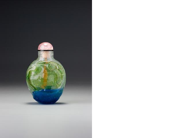 An emerald-green and sapphire-blue glass overlay snuff bottle 1730-1780