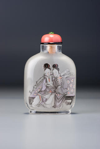 An inside-painted glass 'Qiao sisters' snuff bottle Gui Xianggu, Beijing, dated 1897