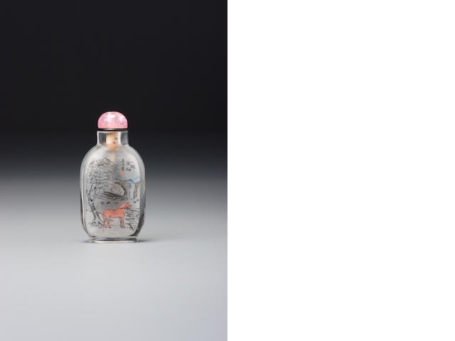 An inside-painted glass 'Tan Xinpei in the role of Qin Qiong' snuff bottle Meng Zishou, Beijing, probably 1905 or 1906