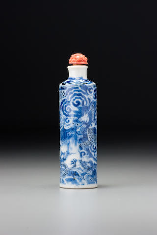 An inscribed blue and white porcelain 'dragons' snuff bottle Probably Imperial, Jingdezhen, Jiaozi shengtian mark,  1840–1900