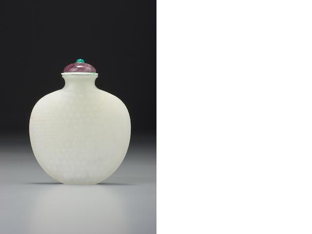 A white nephrite 'longevity' snuff bottle 1730–1860