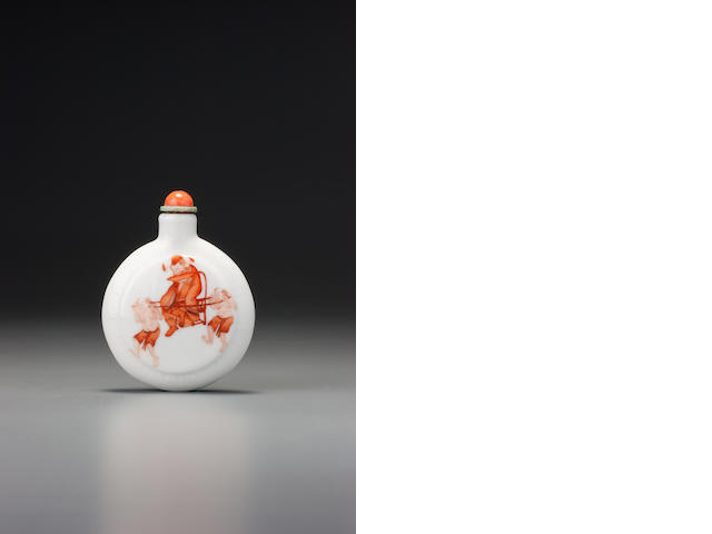 An iron-red enamel on porcelain 'Zhong Kui' snuff bottle Jingdezhen, 1830–1860
