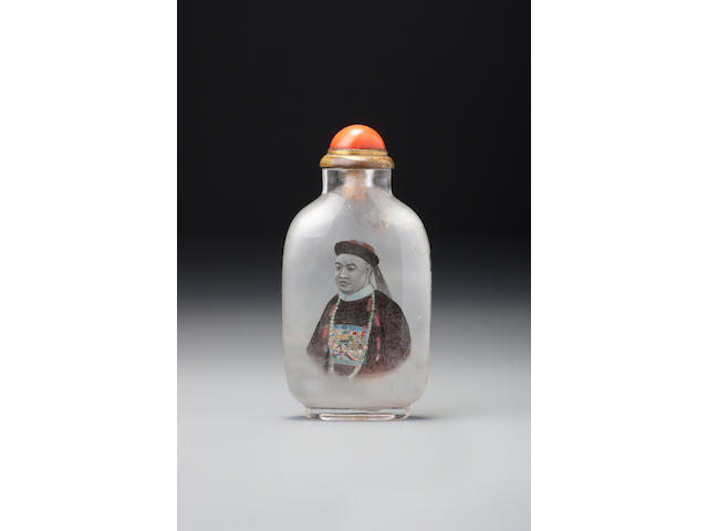 An inside-painted crystal 'portrait of Dashou' snuff bottle Ye Zhongsan, the Apricot Grove Studio, Chongwen district, Beijing, dated 1908 (the bottle: 1760–1908)