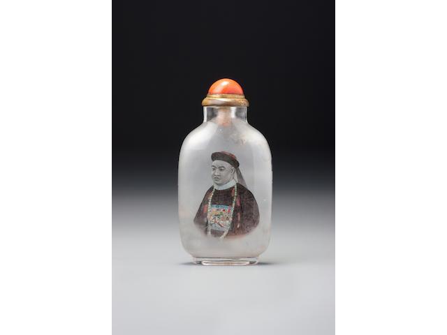 An inside-painted crystal 'portrait of Dashou' snuff bottle Ye Zhongsan, the Apricot Grove Studio, Chongwen district, Beijing, dated 1908 (the bottle: 1760–1908)