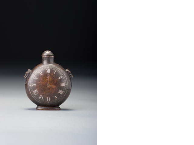 A bronze 'pocketwatch' snuff bottle Palace workshops, Qianlong silver-inlaid four-character mark and of the period,  1750–1799