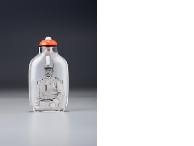 An inside-painted crystal 'portrait of Zhang Cengju' snuff bottle Ma Shaoxuan, Ox Street district, Beijing, 1920–1932 (the bottle: 1760–1932)